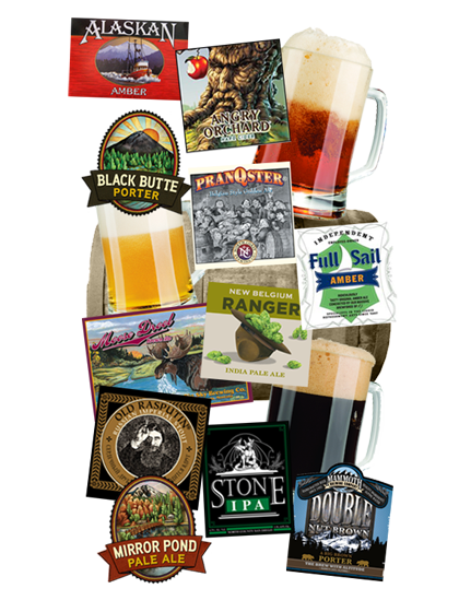 collage of beer and kegs